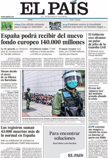 Las portadas de los periódicos del jueves 28 de mayo de 2020