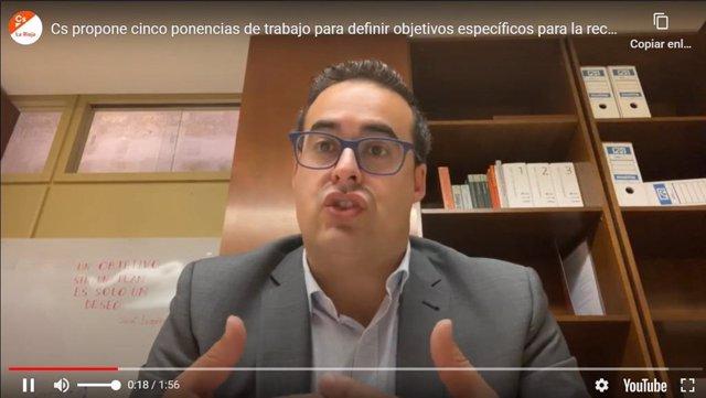 El diputado regional de Ciudadanos Alberto Reyes, durante la rueda de prensa vía 'streaming'