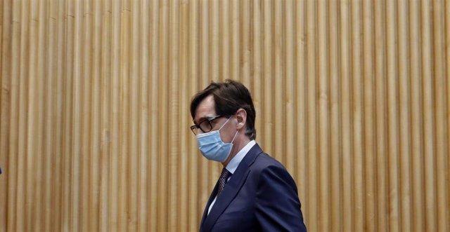 El ministro de Sanidad, Salvador Illa antes de comparecer en la Comisión de Sanidad del Congreso celebrada este jueves sobre la evolución de la crisis del coronavirus. En Madrid (España), a 21 de mayo de 2020.