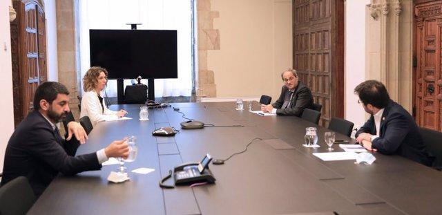 El president Quim Torra es reuneix amb els consellers Pere Aragonès, Àngels Chacón i Chakir  El Homrani sobre el tancament de les plantes de Nissan a Barcelona.