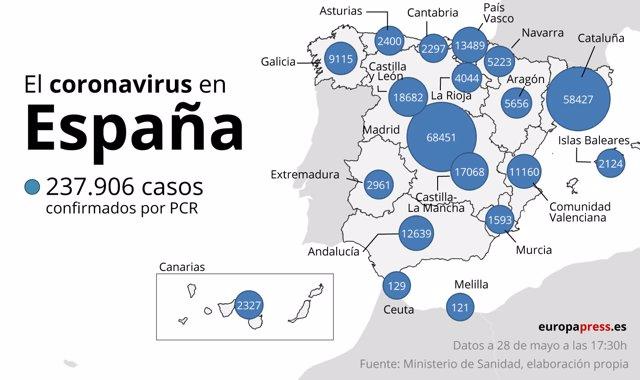 El coronavirus en España a 28 de mayo