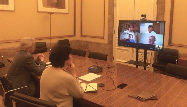 El secretario de Estado de Educación, Alejandro Tiana, y la ministra, Isabel Celaá, en una videoconferencia con representantes de las cooperativas de enseñanza de UECOE.