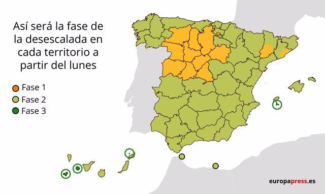 Fases de la desescalada en España a partir del lunes