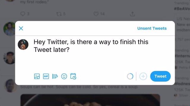Ya es posible guardar y programar un tuit desde la web principal de Twitter