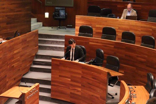 El consejero de Ciencia, Innovación y Universidad, Borja Sánchez, en sede parlamentaria.