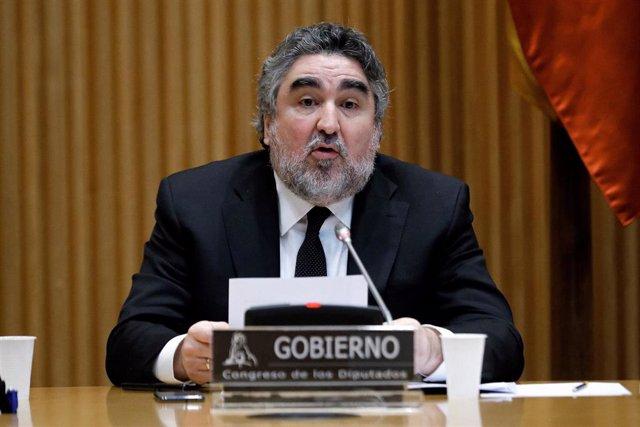 El ministro de Cultura y Deporte, José Manuel Rodríguez Uribes, durante su comparecencia a petición propia en la Comisión de Cultura del Congreso. En Madrid (España), a 29 de mayo de 2020.