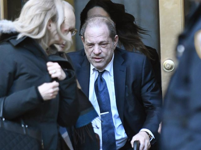 Former co-chairman of the Weinstein Co., Harvey Weinstein exits State Supreme Court on Friday, February 21, 2020 in New York City.