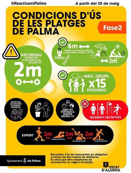 La Policía Local vigilará las playas de Palma para velar por el cumplimiento de la normativa sanitaria