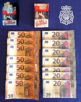 Billetes falsos intervenidos al detenido en Salamanca.