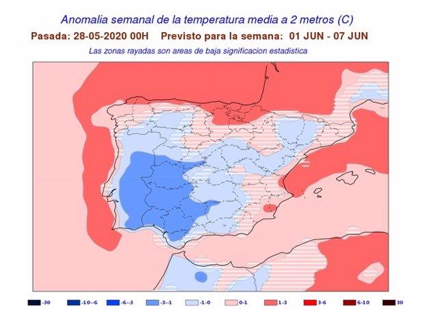Mapa elaborado por la Aemet sobre la previsión de temperaturas para la primera semana del mes de junio
