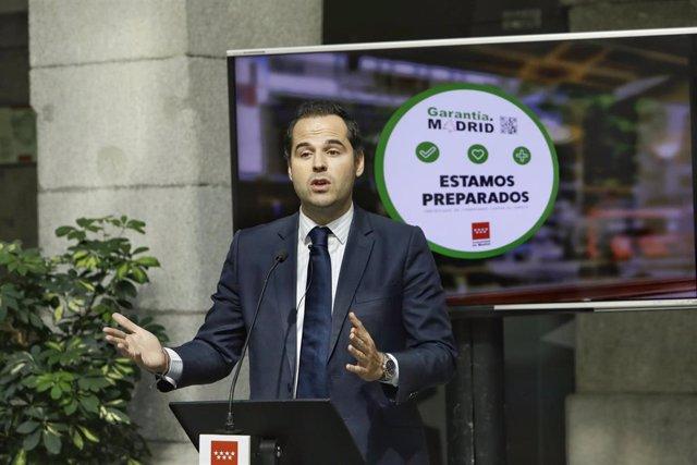 """El portavoz del Gobierno regional, Ignacio Aguado, presenta """"Garantía.Madrid"""""""