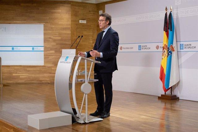 Feijóo, en rueda de prensa tras el Consello de la Xunta