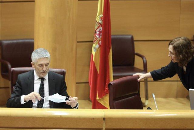 El ministro de Interior, Fernando Grande-Marlaska, se coloca la mascarilla durante su comparecencia ante la Comisión de Interior en el Senado