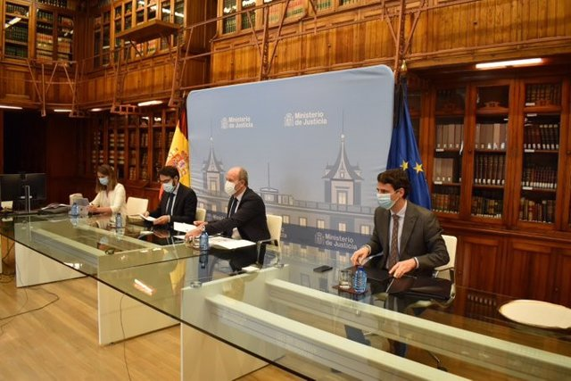 El ministro de Justicia, Juan Carlos Campo, durante la reunión de la Comisión de Coordinación de Crisis del covid-19 en la Administración de Justicia