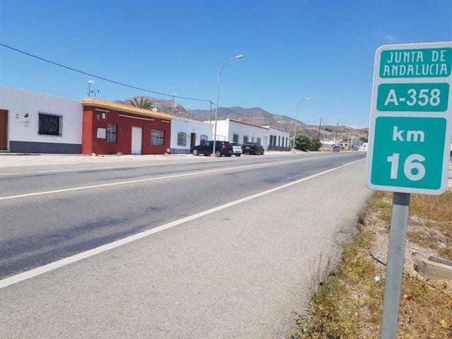 Carretera de Pampanico, en El Ejido (Almería)