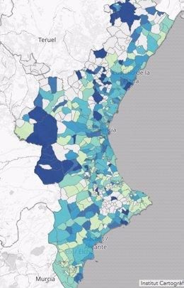 Afección del coronavirus en la Comunitat Valenciana por municipios