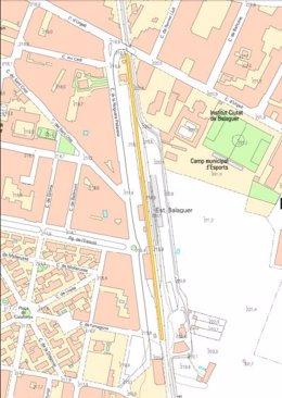 Mapa de obra de mejora de la línia de FGC en Balaguer (Lleida)