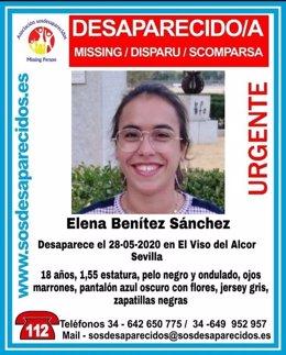 Cartel de la desaparición de una joven en El Viso del Alcor (Sevilla)