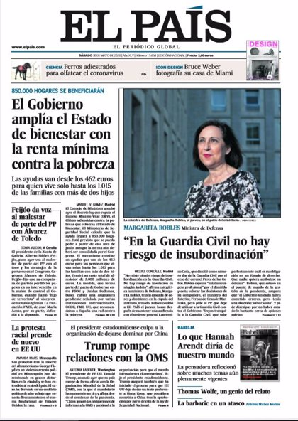 Las portadas de los periódicos del sábado 30 de mayo de 2020