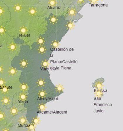 La Comunitat Valenciana vivirá un sábado de cielos despejados y temperaturas que rondarán los 27º