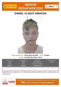 Imagen de un menor de 15 años desaparecido en Torrejón de Ardoz.