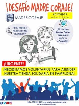 Cartel de Madre Coraje llamando al voluntariado en su tienda de Pamplona