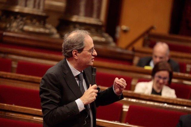 El president del Govern, Quim Torra, en el ple del Parlament del 21 de maig.