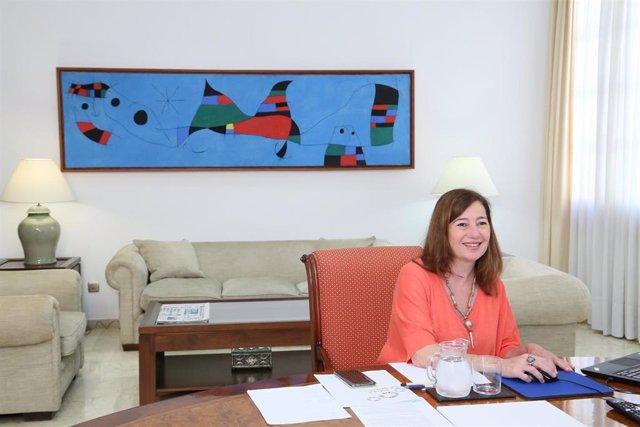 La presidenta del Govern, Francina Armengol, en la duodécima reunión que Sánchez mantiene con los presidentes autonómicos.