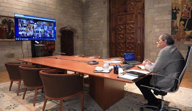El presidente de la Generalitat, Quim Torra, en la 12 reunión telemática de presidentes autonómicos por el coronavirus con el presidente del Gobierno, Pedro Sánchez, a 31 de mayo de 2020.