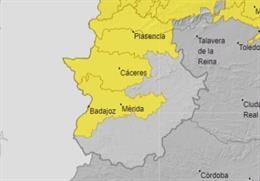 Zonas afectadas por las tormentas este domingo en Extremadura.