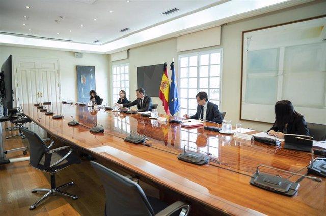 El presidente del Gobierno, Pedro Sánchez, se reúne por videoconferencia con los presidentes autonómicos, en Madrid (España) a 24 de mayo de 2020