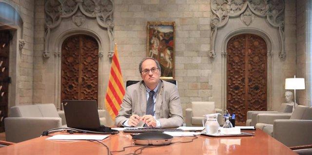 El presidente de la Generalitat, Quim Torra, en la reunión de presidentes autonómicos este domingo con el presidente del Gobierno, Pedro Sánchez.