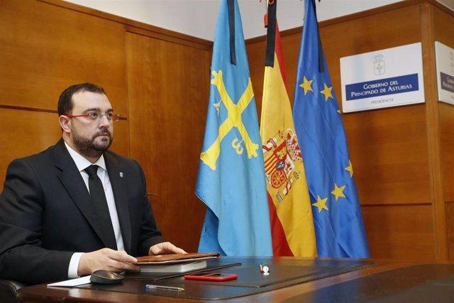 El presidente asturiano Adrián barbón participa en la conferencia de presidentes de este domingo 31 de mayo.