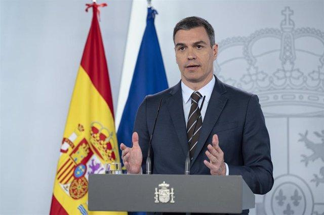 El presidente del Gobierno, Pedro Sánchez, durante la rueda de prensa telemática del pasado sábado 23 de mayo