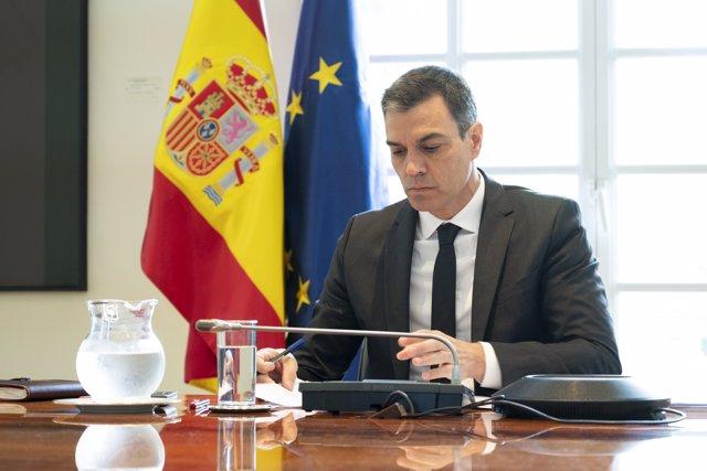 El presidente del Gobierno, Pedro Sánchez, se reúne con los presidentes autonómicos por videconferencia, en Madrid (España) a 31 de mayo de 2020