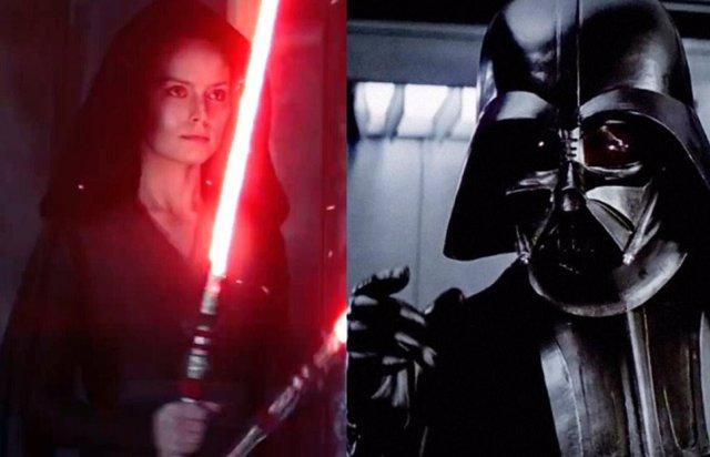 Rey y Darth Vader en la saga Star Wars