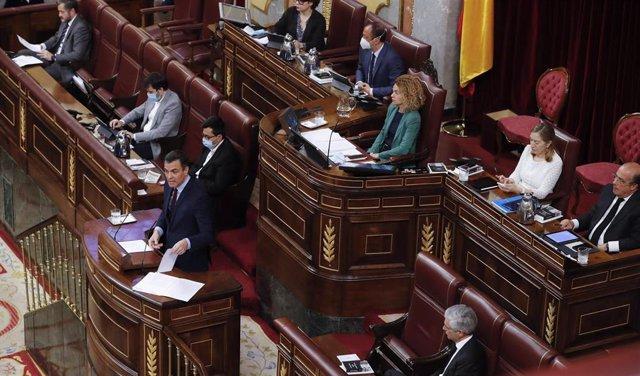 El presidente del Gobierno, Pedro Sánchez, haciendo una intervención en el Pleno del Congreso de los Diputados.