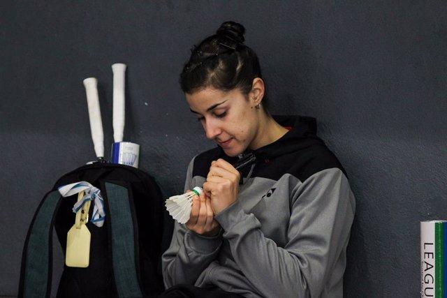 Carolina Marín, antes de un entrenamiento.