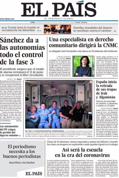 Las portadas de los periódicos del lunes 1 de junio de 2020
