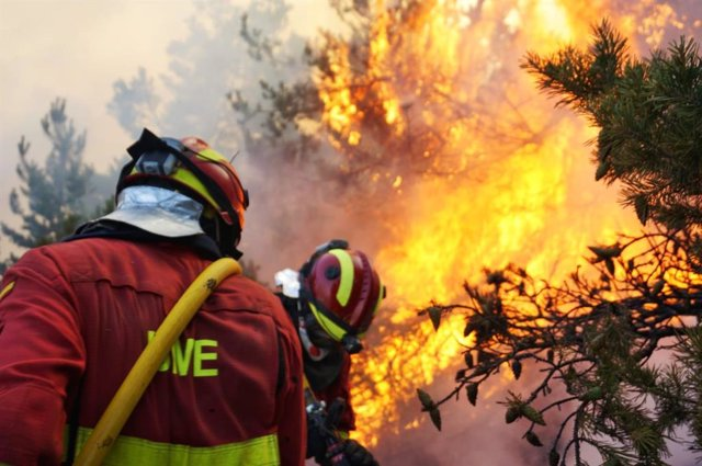 Efectivos de la UME trabajan en las labores de extinción de un incendio.