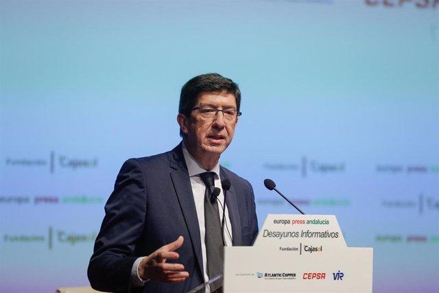 El vicepresidente de la Junta, Juan Marín, interviene en los desayunos informativos de Europa Press Andalucía, con el patrocinio de Fundación Cajasol, Atlantic Copper, Cepsa y Laboratorios Vir.