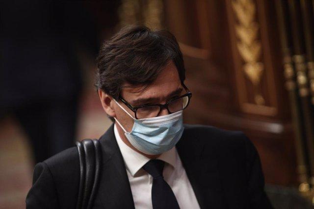 El ministro de Sanidad, Salvador Illa, interviene en el pleno de control al Gobierno centrado en las medidas post-COVID 19