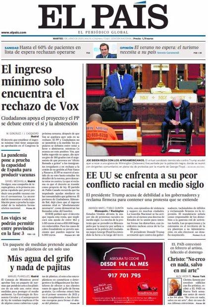 Las portadas de los periódicos del martes 2 de junio de 2020