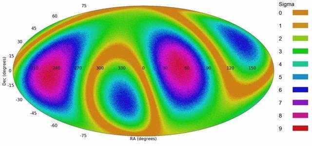 Mapa de distribución de direcciones de grio en las galaxias