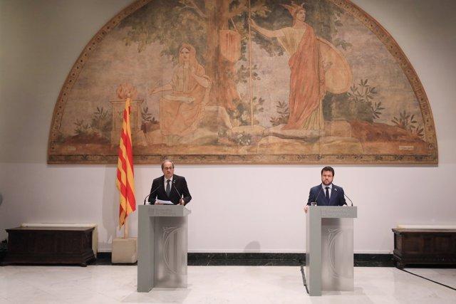 El presidente de la Generalitat, Quim Torra, y vicepresidente, Pere Aragonès, explican la estrategia 'Catalunya 2022', el 2 de junio de 2020.