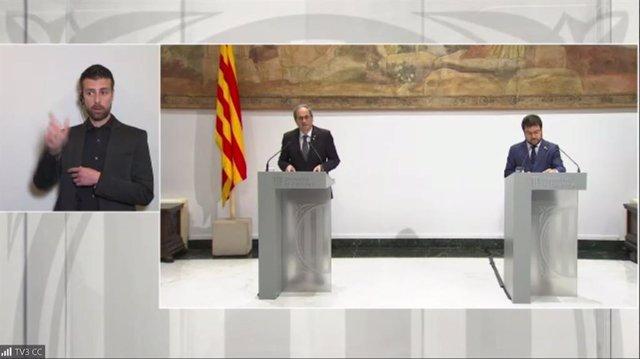 El president de la Generalitat, Quim Torra, i el vicepresident, Pere Aragonès