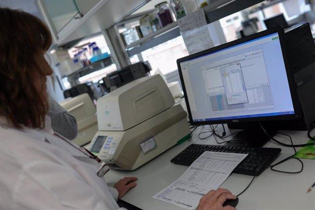 Una trabajadora con un ordenador