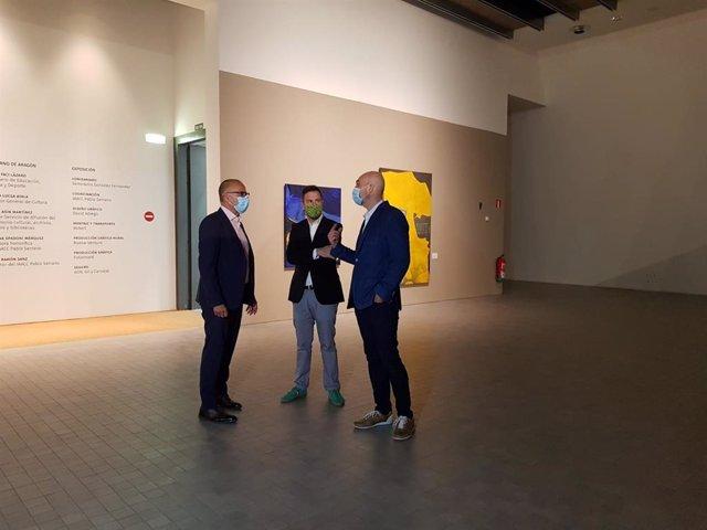 El consejero de Cultura de Aragón, Felipe Faci, visita el IAACC 'Pablo Serrano' el día de su reapertura tras el cierre por la pandemia del coronavirus.