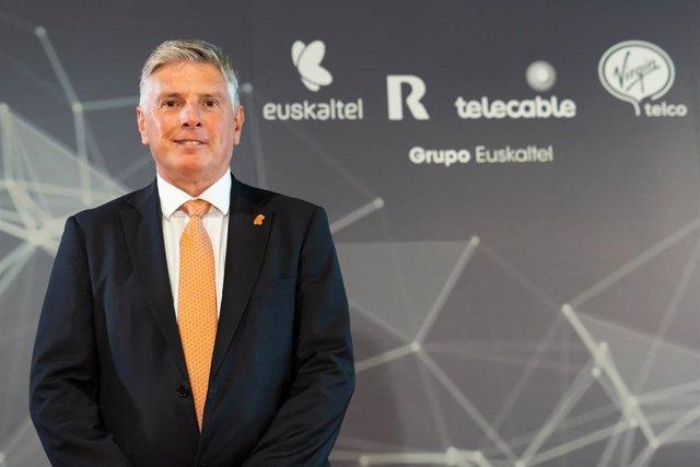 Xabier Iturbe, presidente no ejecutivo de Euskaltel, en la Junta General de Accionistas de 2020