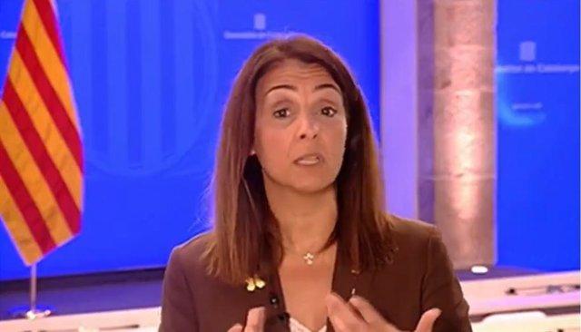 La consellera de Presidència i portaveu del Govern, Meritxell Budó, en roda de premsa.